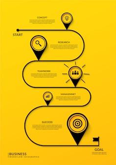 複数のステップを持つビジネスタイムラインインフォグラフィック