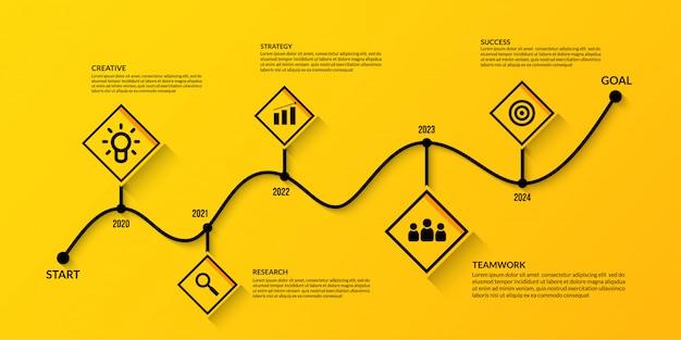 Бизнес график инфографики с несколькими шагами