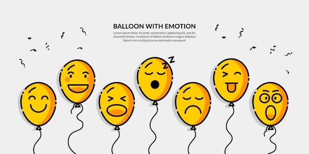 さまざまな感情のバナーとバルーン