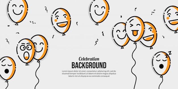 Воздушный шар праздник баннер с несколькими эмоциональными