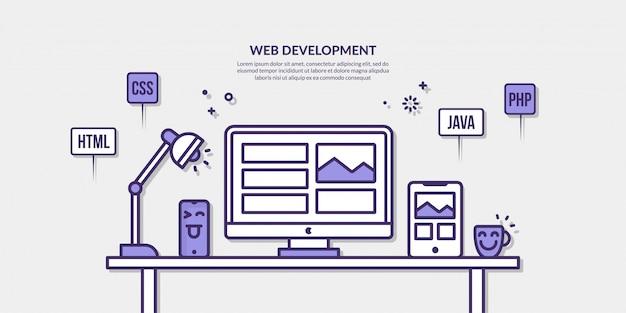 Веб-разработка с контурным элементом на желтом