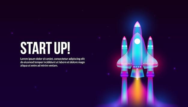 ファンタジーの光のアートスタイルでロケットを起動します。