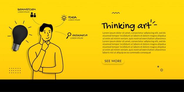 黄色の背景に電球を起動すると男思考の概念