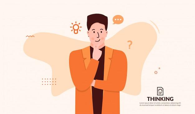 創造的なアイデアの背景を持つ男思考の概念
