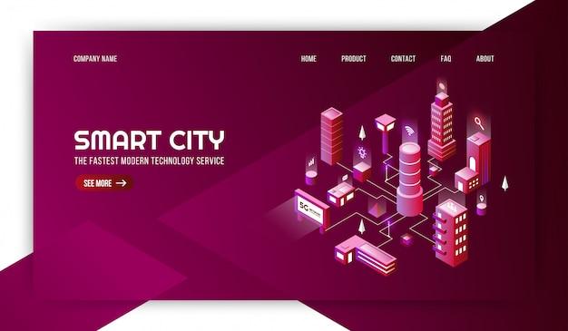 接続されている大都市の背景を持つスマートシティ現代技術サービス