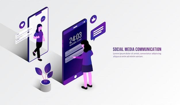 Изометрические женщина чат перед мобильным, концепция социальных медиа коммуникации