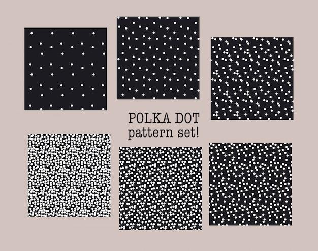 黒と白の水玉のシームレスなパターンセット