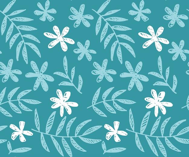 熱帯の花の手描きの背景シームレスパターン