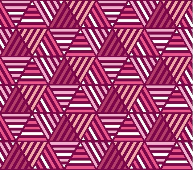 ピンク色の縞模様のシームレスパターン。モザイクの繰り返しの飾りのベクトルイラスト