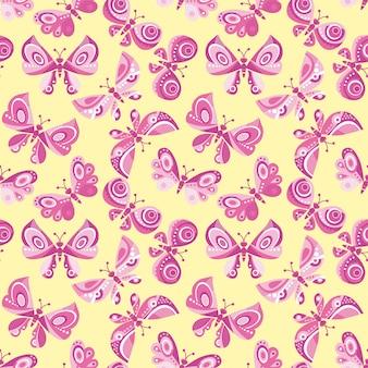 明るい蝶飛ぶシームレスパターン