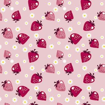 淡いバラ色のシームレスパターンの赤いベリー