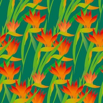 Зеленый тропический экзотический цветок бесшовный фон