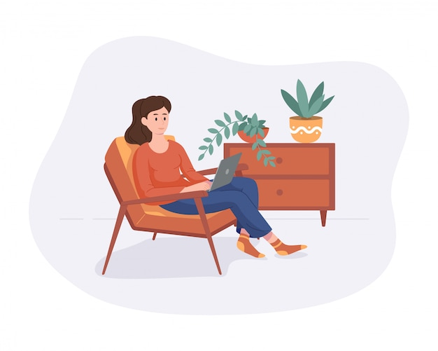 フリーランスの女性は、白で隔離コンピューターフラットスタイルの椅子の家の快適な空間から仕事します。オンラインで働くフリーランサーの女の子自営業のコンセプト。