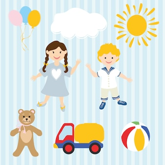 手描きの子供たちとおもちゃ