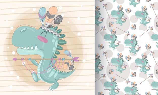 かわいい恐竜パターンセット手描きイラスト