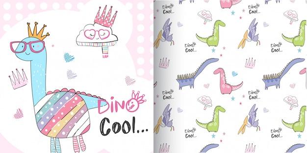 かわいい恐竜パターンセット、手描きイラスト - ベクトル