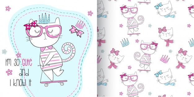 Милый котенок шаблон набор, рука ничья иллюстрации вектор