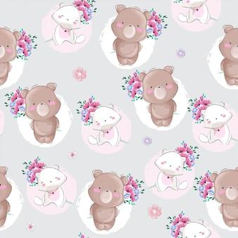小さなクマと猫のシームレスパターン