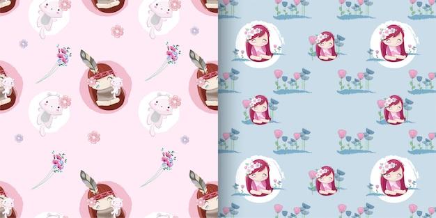 かわいい女の子のシームレスパターンコレクションセット