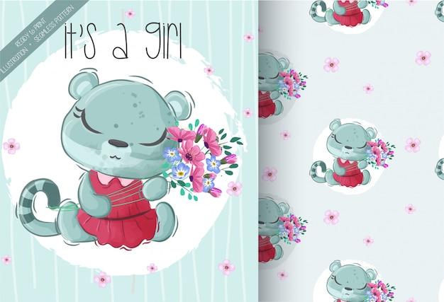 Милый маленький тигр, держа цветы с бесшовный фон