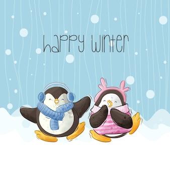 雪ベクトルのかわいい幸せなペンギンイラスト