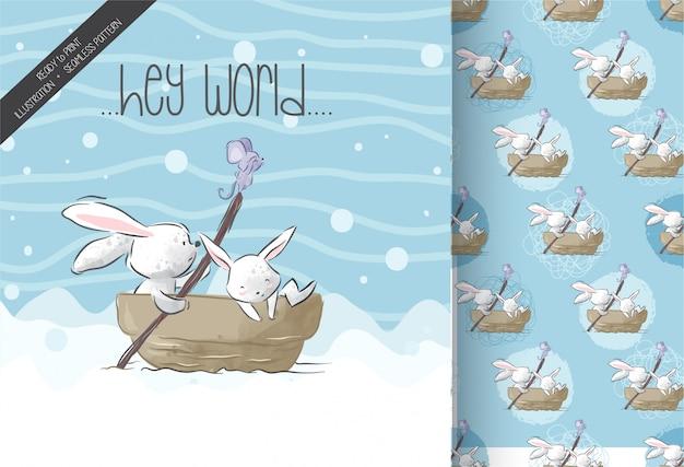 ボートのシームレスパターンのかわいいウサギ