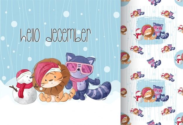 幸せな動物雪だるま冬シーズンのシームレスパターン