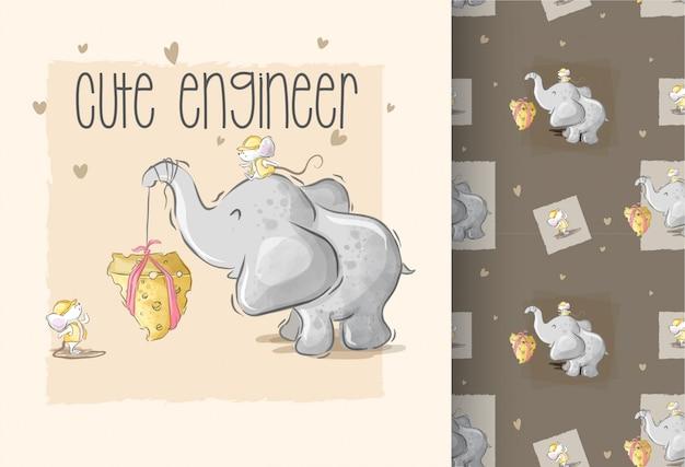 Симпатичный слон, играющий с мышонком