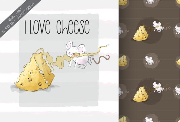 かわいい赤ちゃんマウス素敵なチーズのシームレスパターン
