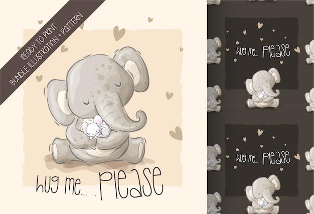 Милый слон спит мышь бесшовный фон