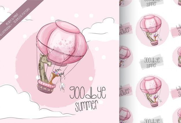 気球漫画動物シームレスパターンで飛んでかわいいキリン