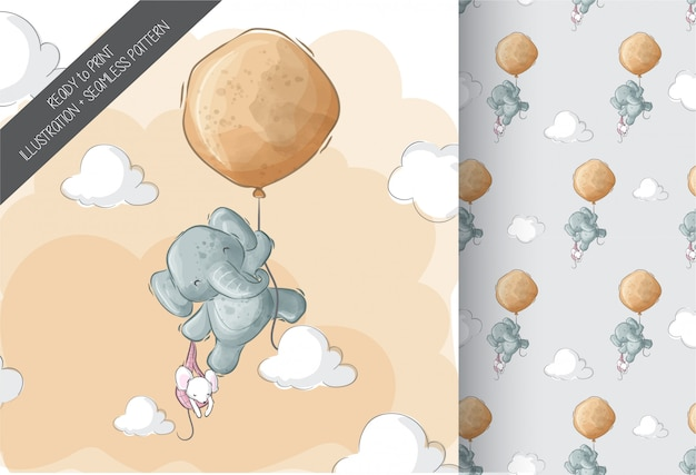 バルーン漫画動物のシームレスなパターンで飛んでいるかわいい象