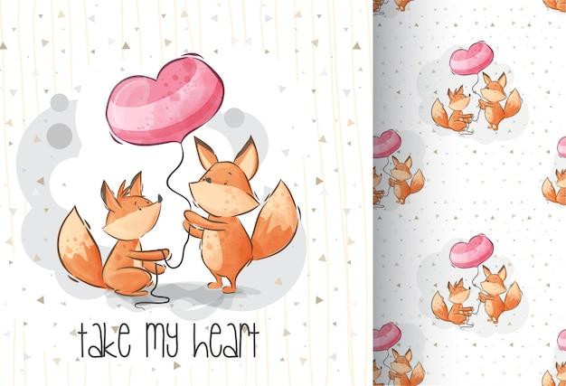 かわいい素敵なキツネ動物漫画のシームレスパターン