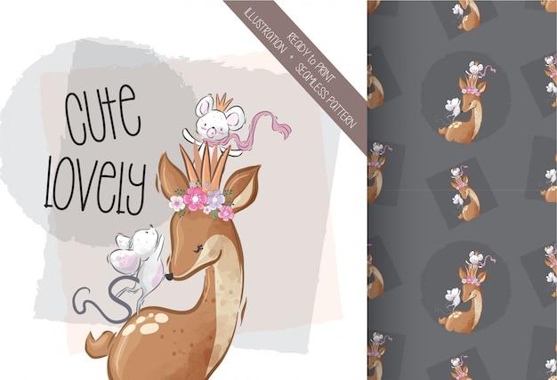 Милый дорогой с ребенком мыши иллюстрации бесшовные модели