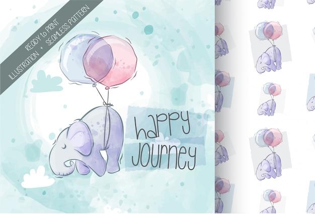 Милый слон, летевший с воздушным шаром иллюстрации бесшовные модели