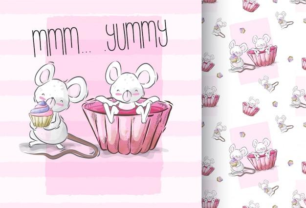 ケーキのシームレスなパターンを持つ漫画かわいい赤ちゃんマウス