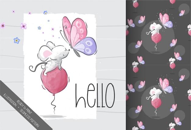 蝶のシームレスなパターンを持つ漫画かわいい赤ちゃんマウス