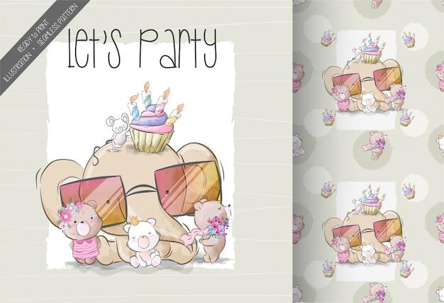 漫画かわいい赤ちゃん動物の誕生日パーティーのシームレスパターン
