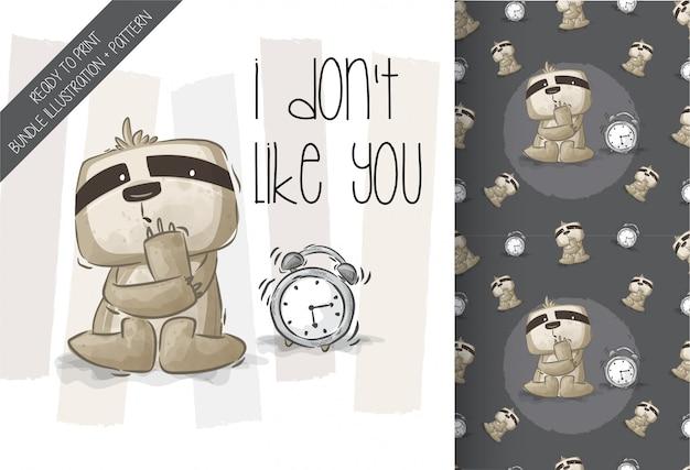Симпатичные ленивец с будильником бесшовные модели