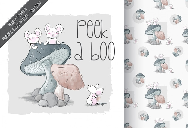大きなキノコと漫画かわいい赤ちゃんマウス