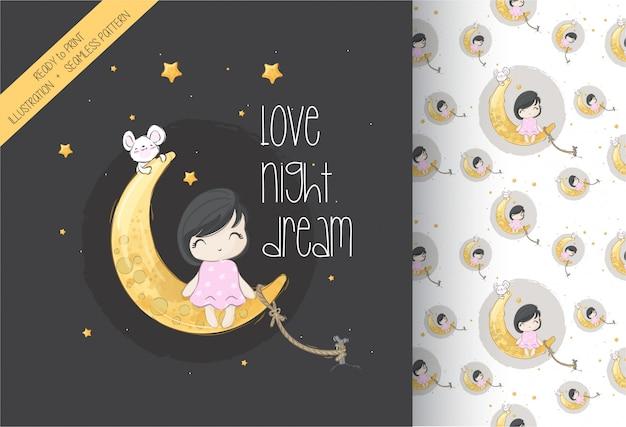Мультяшный милая девушка сидит на луне бесшовные модели