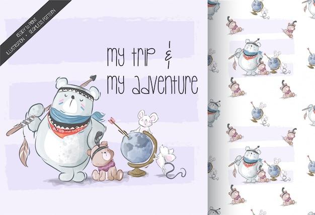 漫画かわいい動物旅行者のシームレスパターン