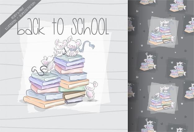 漫画かわいいマウスがシームレスなパターンで学校に戻る
