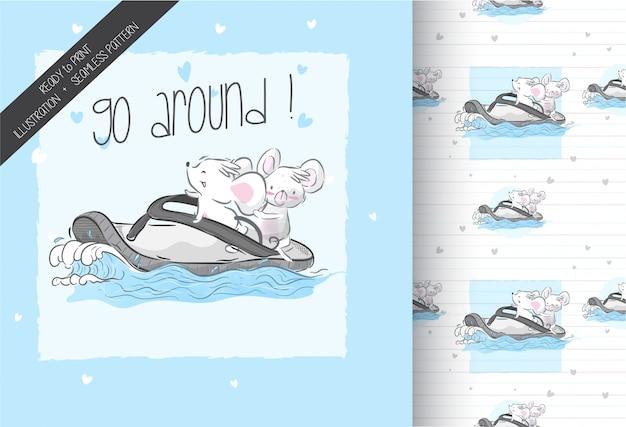 シームレスなパターンでサーフィン幸せな漫画赤ちゃんマウス