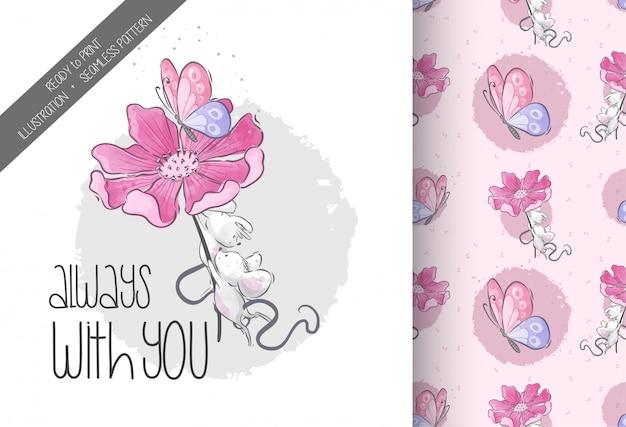 花のシームレスなパターンを持つ漫画かわいい赤ちゃんマウス