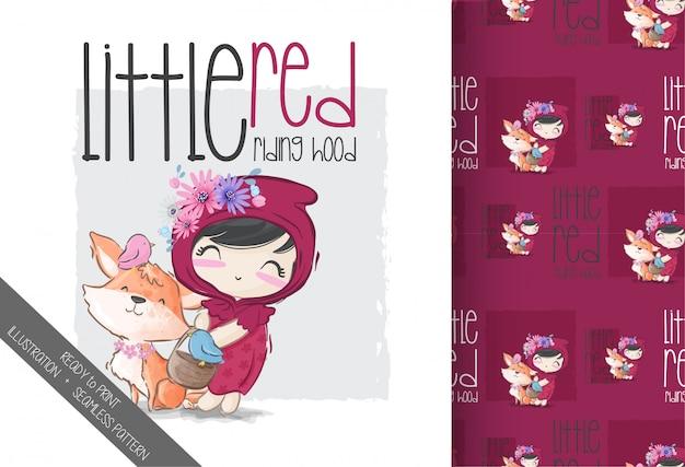 漫画かわいい赤ずきんちゃんのシームレスパターン