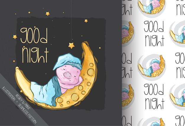 Мультяшный милый ребенок свинья спит на луне бесшовные модели