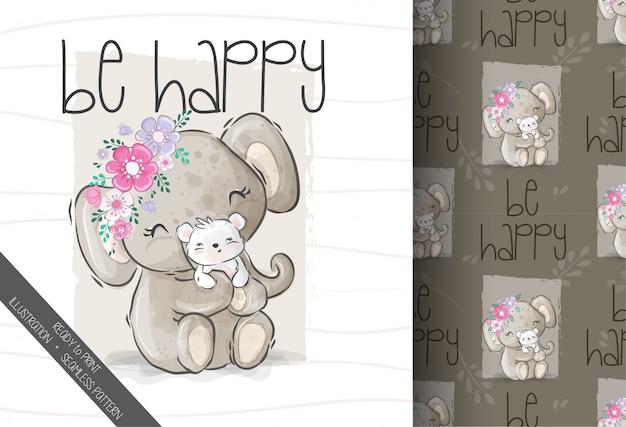 シームレスなパターンを持つかわいい動物かわいい象