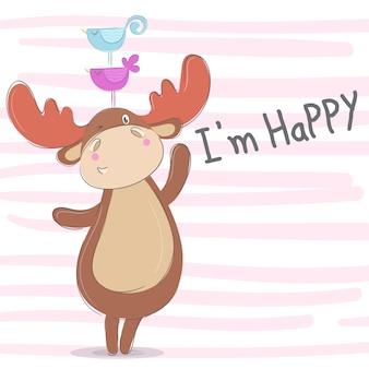 かわいい鹿手描きの動物イラスト - ベクトル