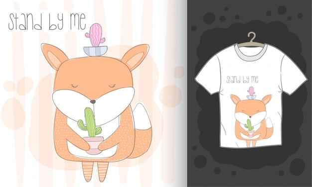 Маленькая лиса рисованной иллюстрации для печати футболки